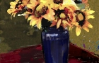 Sunflowers Blue Vase